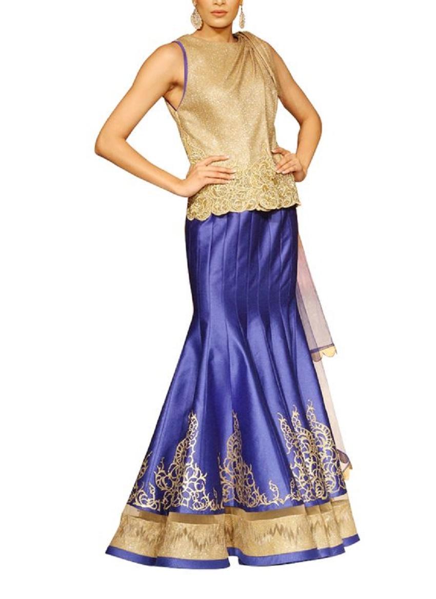 sleevless wedding lehenga blue and gold colour