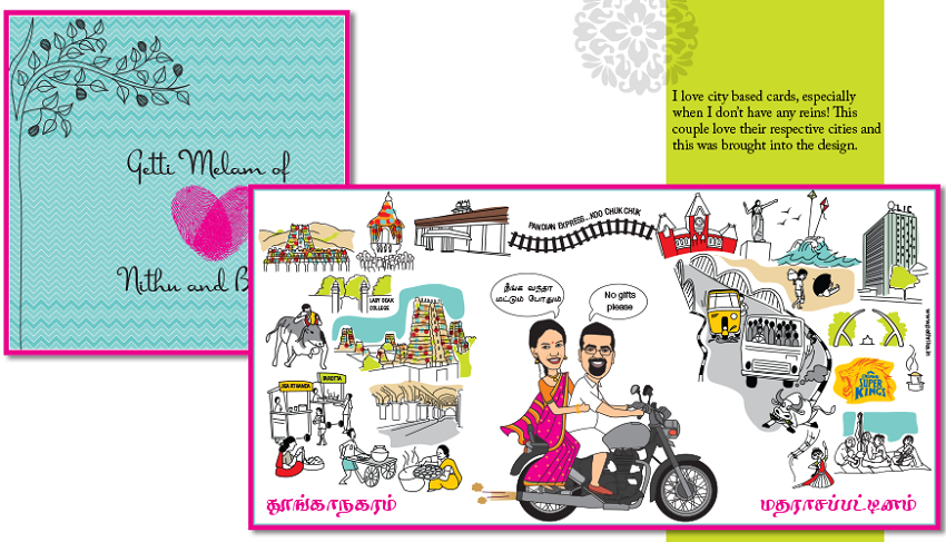 personalized and unique indian wedding invitation cards with caricatures