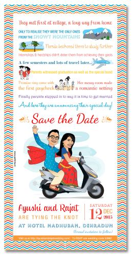 wedding invitation cards with cartoons and caricatures
