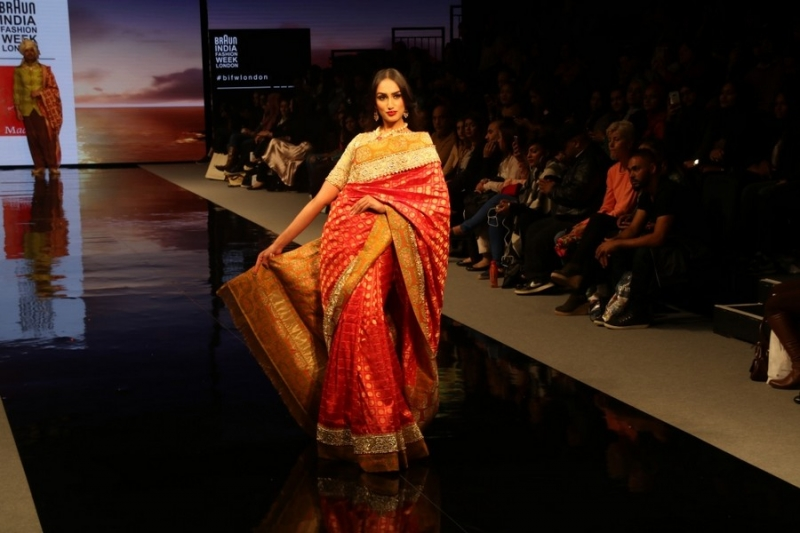 orange and gold benarasi sari at Braun India Fashion Week 2016
