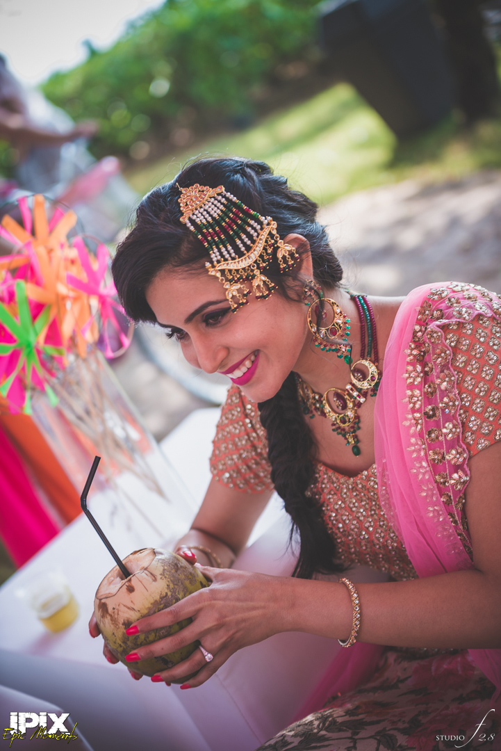 gorgeous real Sikh wedding pink lehenga maang teeka cineyug celebrations