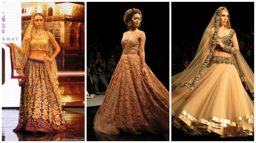 beige and gold and blue lehengas at Braun India Fashion Week 2016 bridal wear