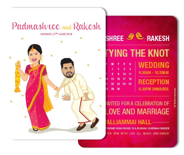 Indian wedding invitations with caricatures