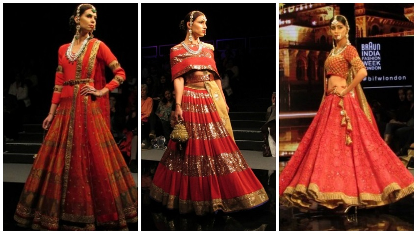 red and gold lehengas at Braun India Fashion Week 2016 bridal wear