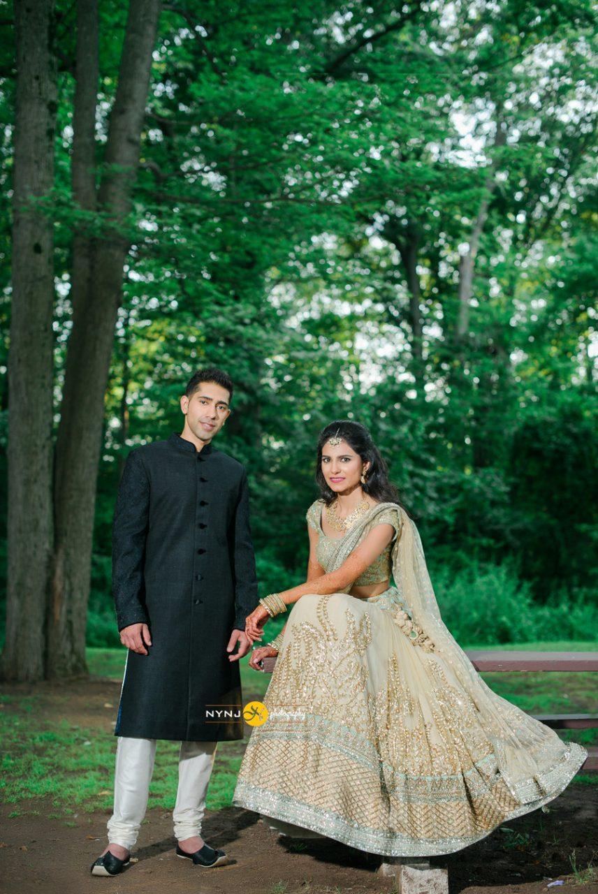 beige lehenga Indian wedding in Addison Park NJ