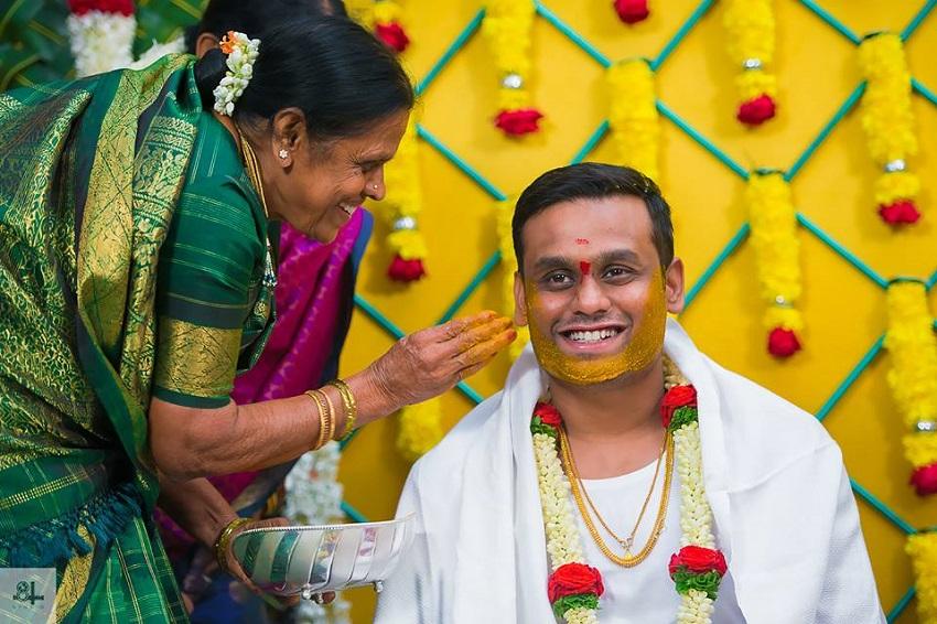 haldi ceremony-Indian wedding rituals-image by best wedding photographers in Chennai 84mm Studio
