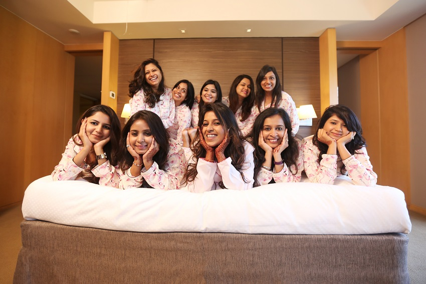 pyjama photoshoot at Grand Hyatt Mumbai prewedding bridal shoot