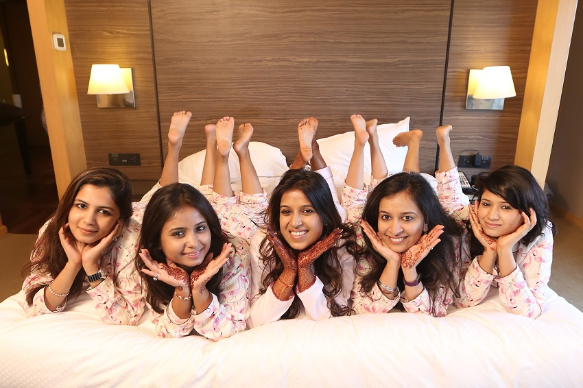 bridesmaids in robes and pyjamas