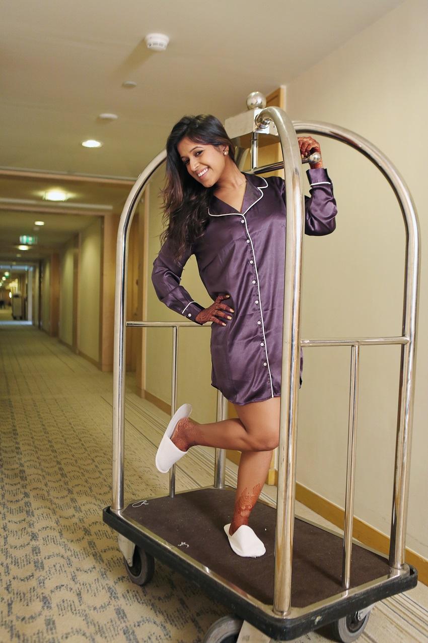 prewedding pyjama photoshoot at Grand Hyatt Mumbai