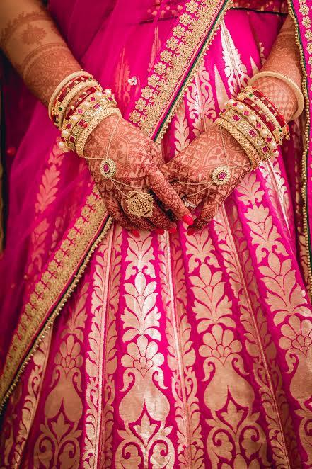 Beautiful pink dress wedding lehenga by ENSO bangalore