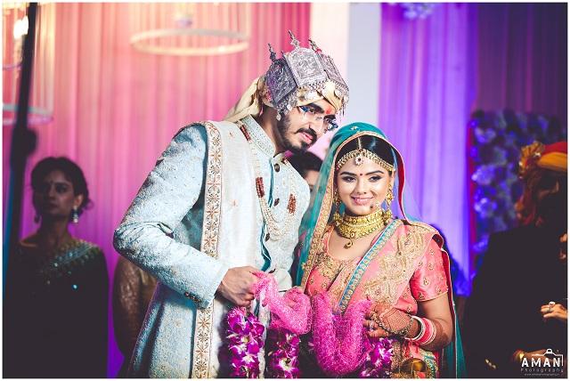real wedding in Amritsar baby pink and blue lehenga