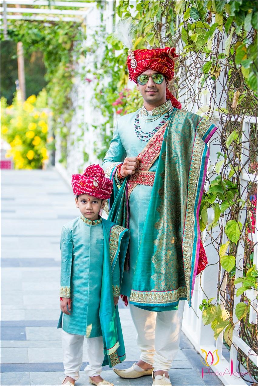 bridegroom in Aqua coloured sherwani