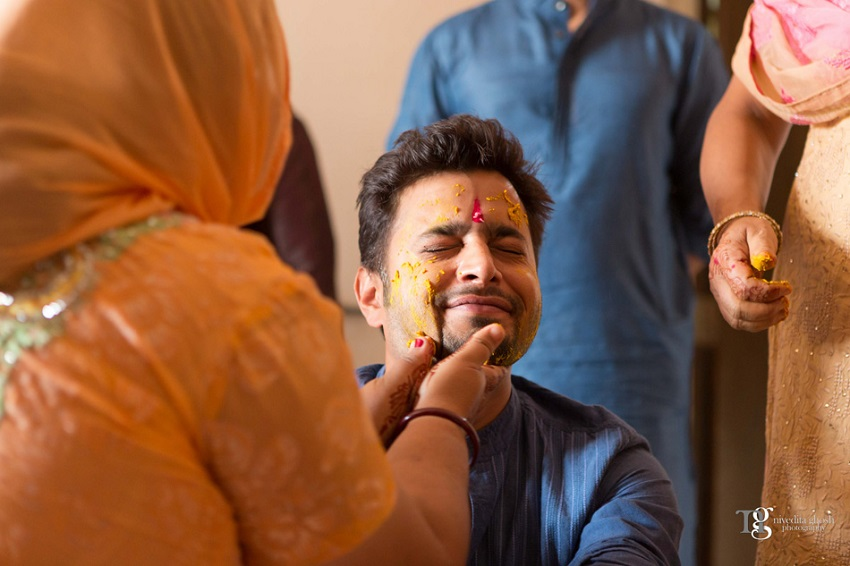 groom's haldi ceremony Nivedita Ghosh Photography real wedding at Club Millennium Juhu