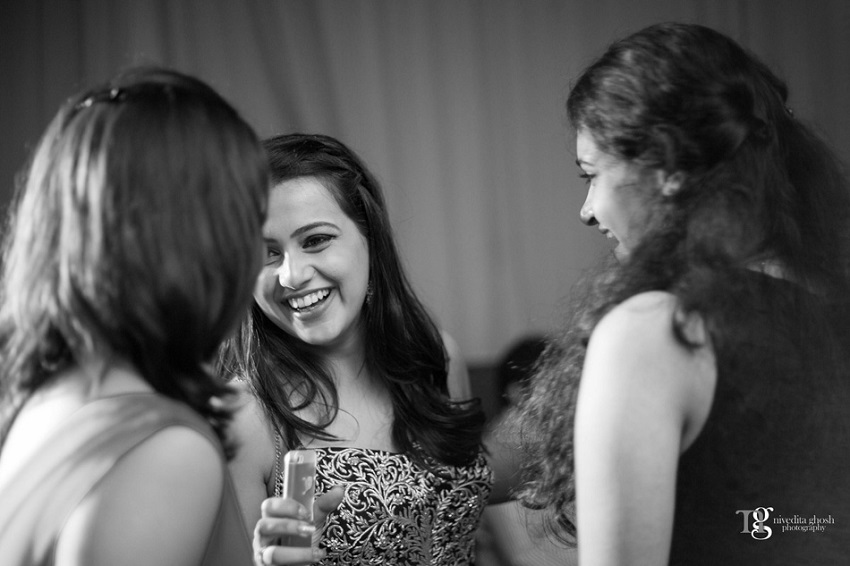 bride at her cocktail party Nivedita Ghosh Photography real wedding at Club Millennium Juhu