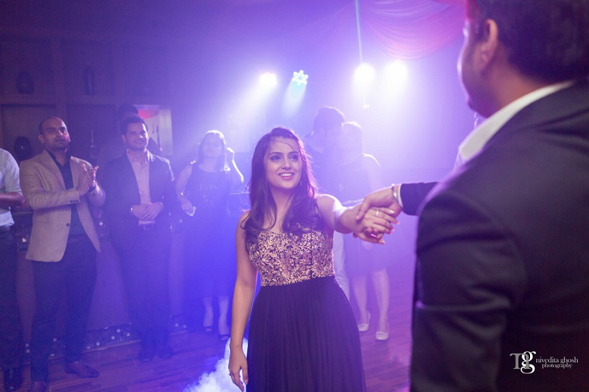 cocktail party dress Nivedita Ghosh Photography real wedding at Club Millennium Juhu