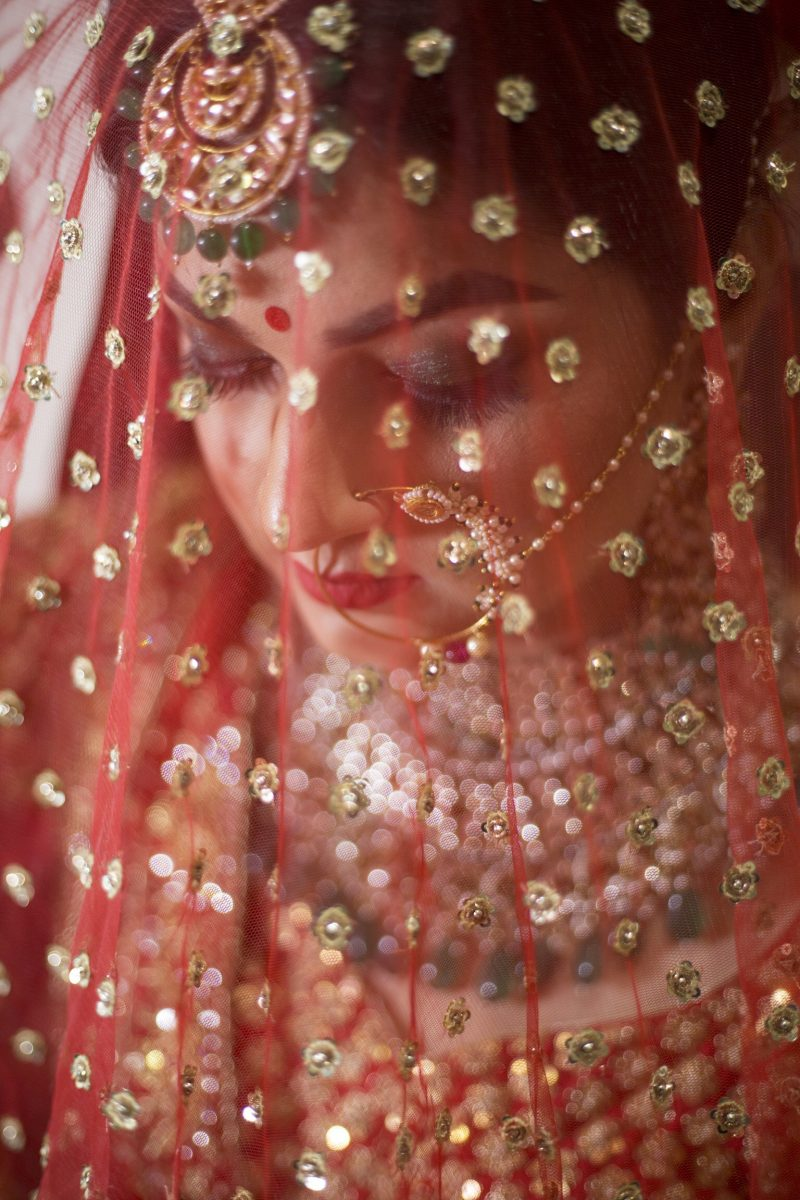 indian bride with veil