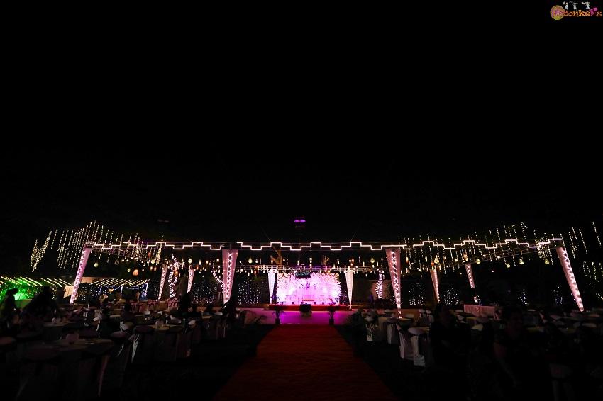 wedding decor-Love birds and purple color wedding theme