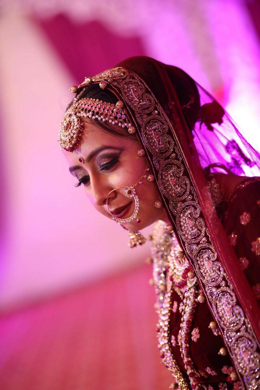 maroon wedding dress lehenga