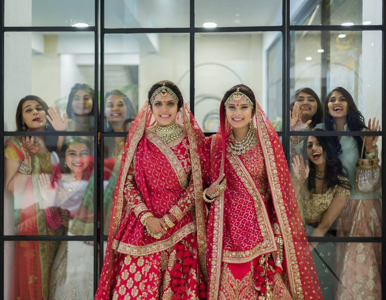 beautiful twin sisters get hitched