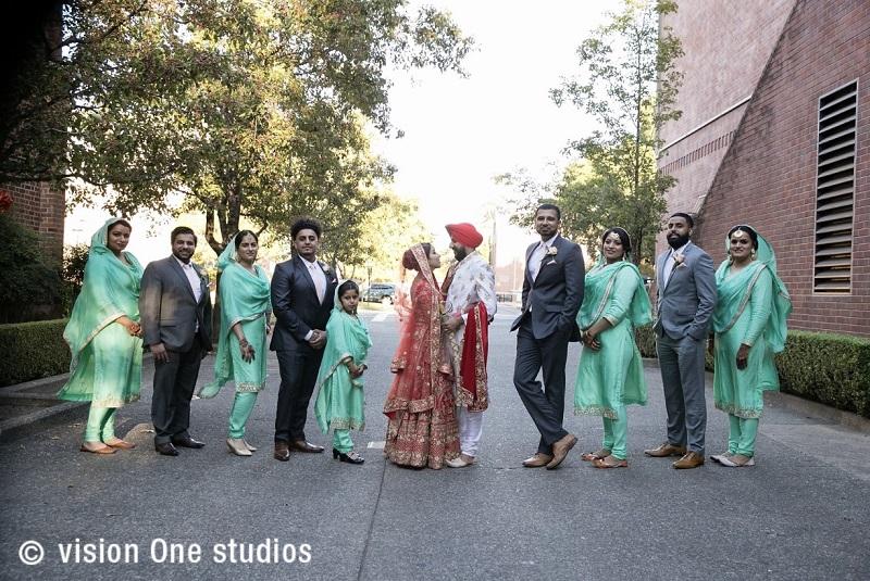 bridesmaids in light green salwar kurta-real Sikh wedding by vision one studios