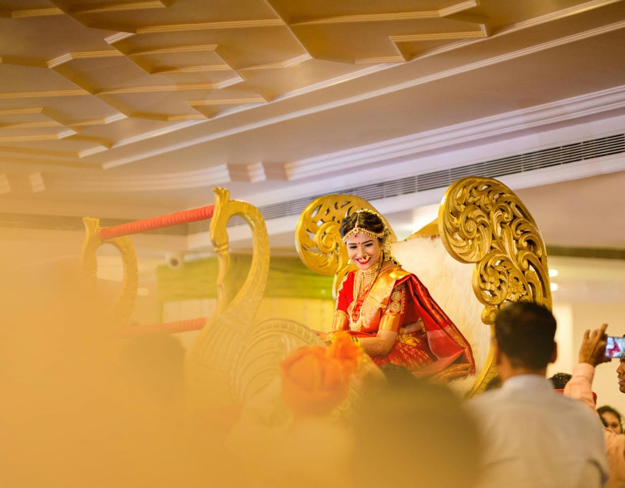 bride arrives in her doli for her traditional marathi wedding ceremony