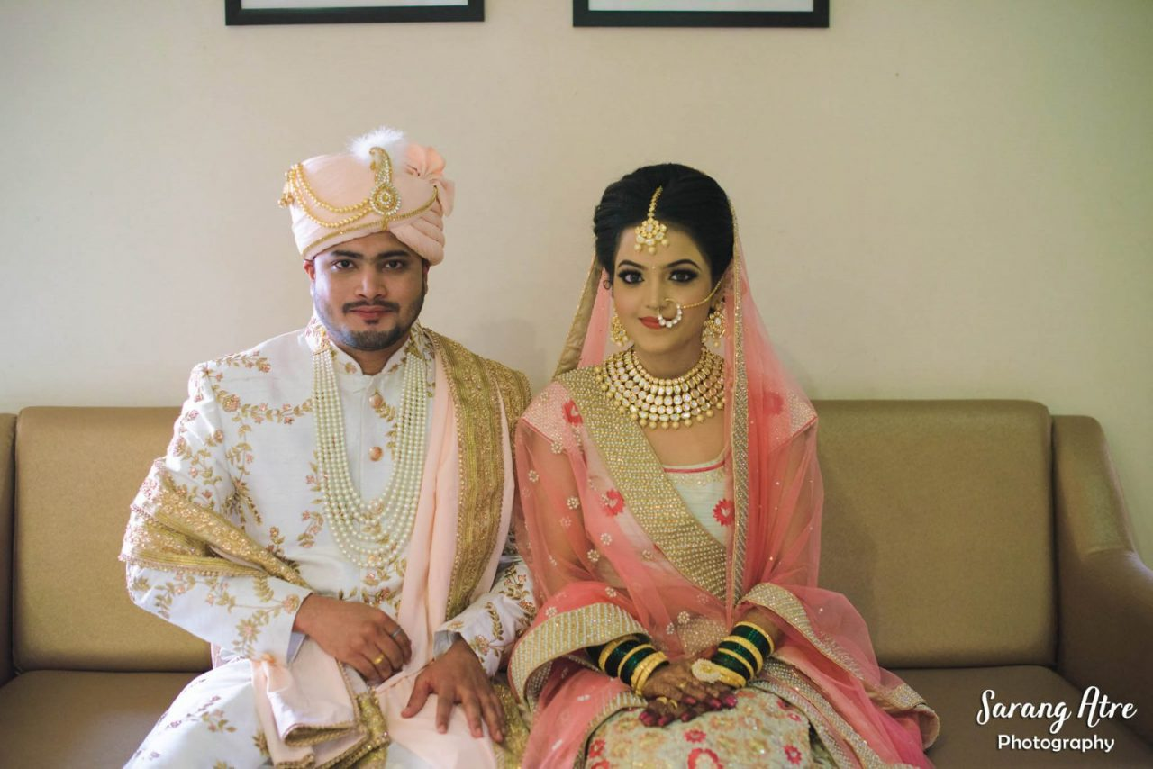 pink and white colour coordinated wedding Marathi real wedding