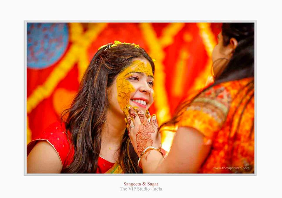 haldi ceremony for Indian bride
