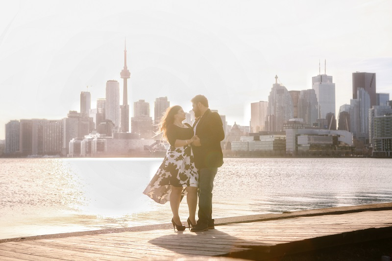 pre wedding shoot in front of Space Needle Tower
