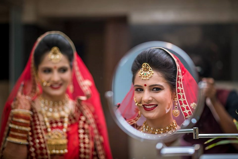 an Indian bride on her wedding day