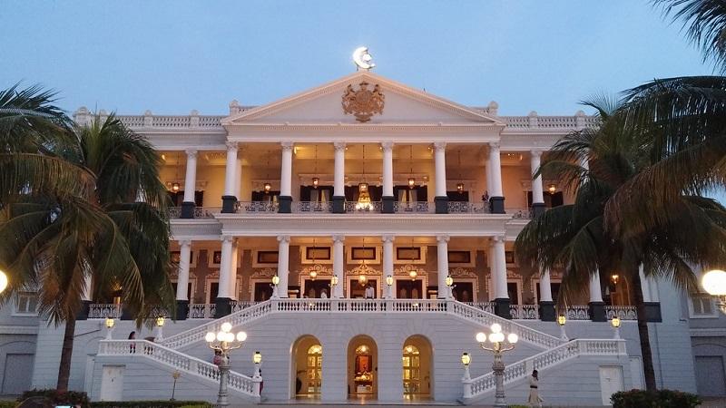 Falaknuma palace hotel in the evening