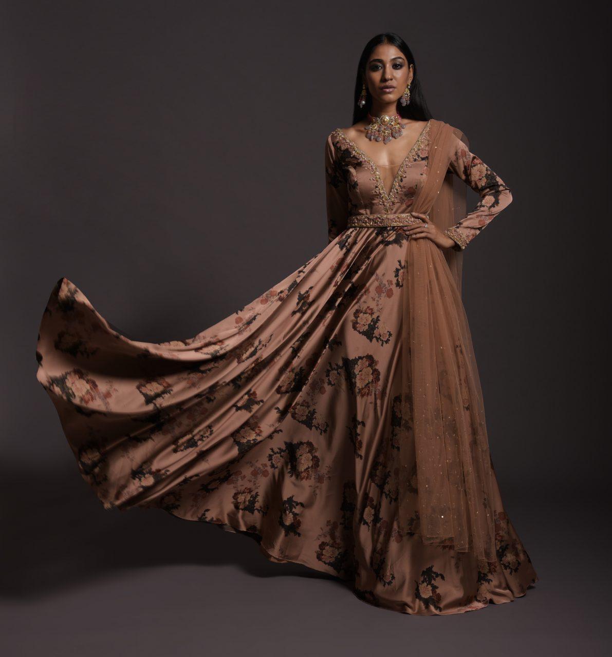Copper Peach Anarkali Suit