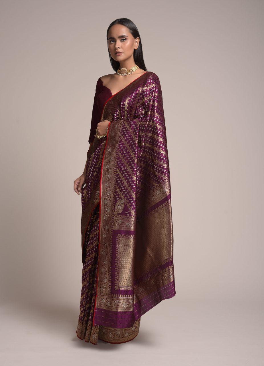 Paradise Purple Saree in Silk