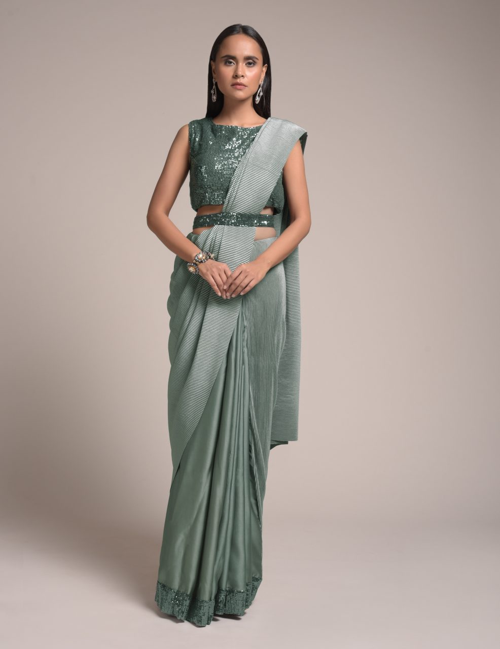5. Shimmer Half and Half Saree in Silk